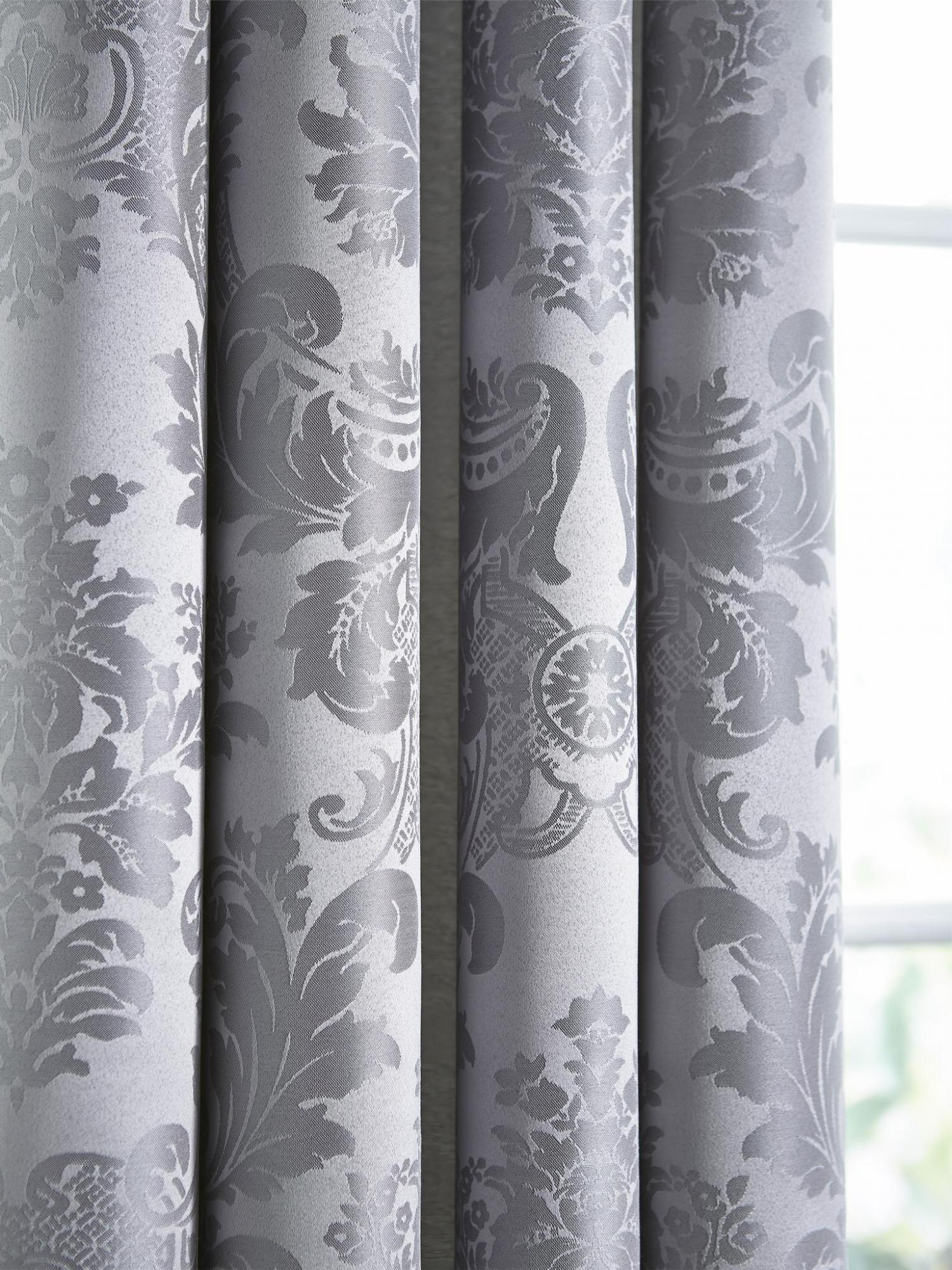 Catherine Lansfield Damask Jacquard Silver Eyelet Curtains